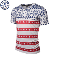 Mr.BaoLong Brand men's V-Neck t-shirt Newest fashion Five-pointed star stripes 3D printed t shirt for youth man Asian:M-3XL VT2(China)