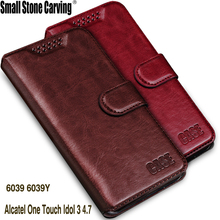 Luxury Leather Wallet Flip Cover Case For Alcatel One Touch Idol 3 4.7 Case 6039 6039Y Phone Bags Coque For Alcatel Idol 3 Case(China)