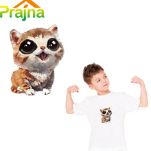 Prajna Iron on Transfers For T Shirt Anime Cat Patch Kids Cartoon Patch Applique Hot Fabric Heat Transfer Paper Vinyl Stickers(China)