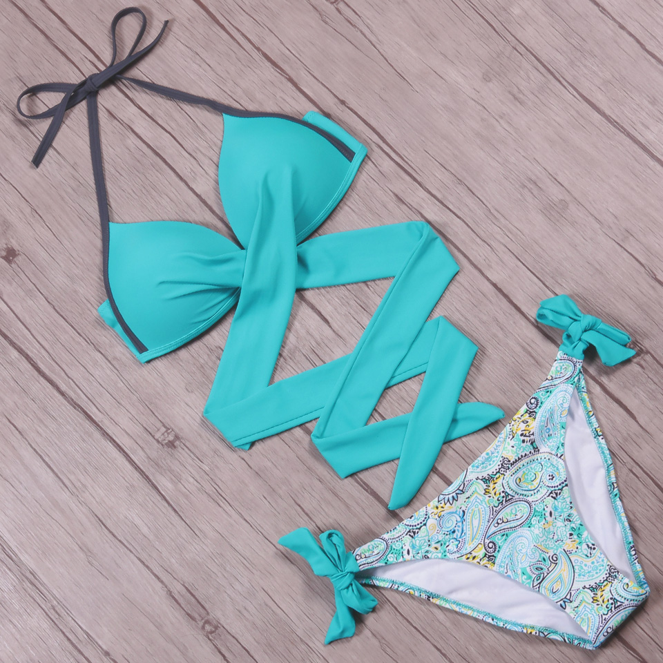 NAKIAEOI 19 Sexy Bikini Women Swimsuit Push Up Swimwear Criss Cross Bandage Halter Bikini Set Beach Bathing Suit Swim Wear XXL 49