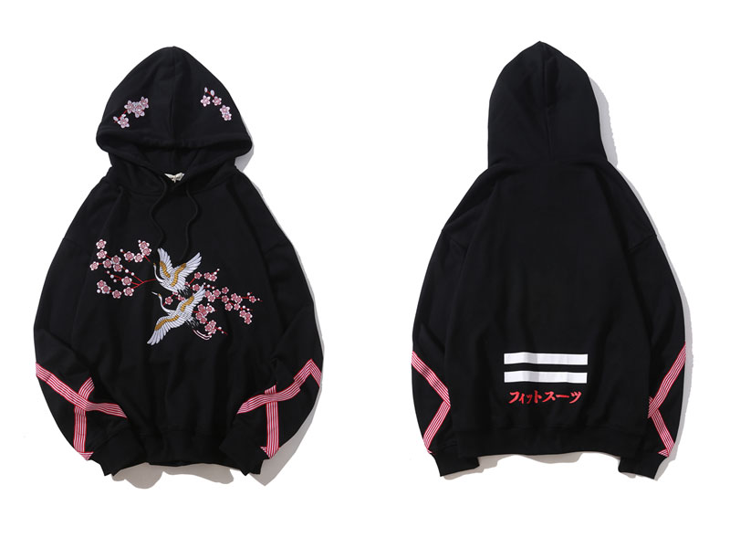 Embroidery Crane Flowers Hoodies 1