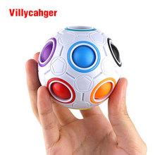 1* Fun Creative Spherical Magic Cube Speed Rainbow Puzzles Ball Football Kids Educational Learning Toys for Children Adult