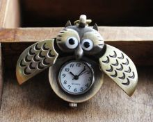 Unique Antique Fashion Alloy Vivid Owl Pocket Watch Pendent Chain Vintage Fob Watch Active Wings Clock Necklace