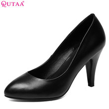 QUTAA 2018 Women 펌프 Office Lady Genuine Leather Shoes 플랫폼 All 경기 씬 (High) 저 (힐 첨 발가락 Women 펌프 Szie 33-42(China)