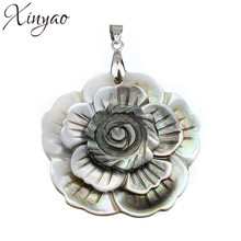 43*53mm 1PC Black Flower Carved Shell Necklaces Pendants In Jewelry Making DIY Accessories Charms 2014 Design Natural F1116(China)
