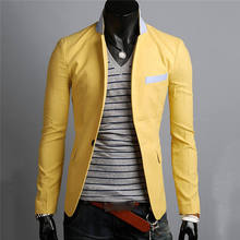 Men Suit Blazers Formal Linen Top Quality One Button Suit Coat Casual Slim Fit Jacket Outwear Tops Autumn 0359