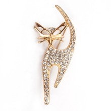 Factory Direct Sale Gold Color Crystal Rhinestones Cute Cat Brooch Pins For Women(China)