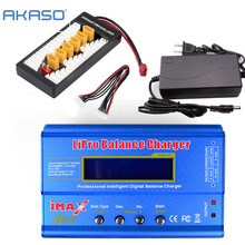AKASO iMAX B6 LCD Screen Digital RC Lipo NiMh Battery Balance Charger + XT60 / T Plug Adaptor Board 2-6S + 12v 6A Power Adapter(China)