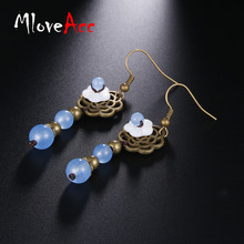 MloveAcc Sweet Hollow Floral Copper Flower Earrings White Shell Blue Chalcedony Beads Earrings Ethnic Jewelry(China)