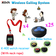 Communication System For Restaurant Wrist Watch Buzzer K-400 With 3keys Call Button( 4pcs watch & 25pcs call button)(China)