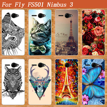 SOFT TPU Phone Cover For Fly FS501 Nimbus 3 DIY Painting roses flowers Owl cat Towers design Case For FLY Nimbus 3 FS501 FS 501