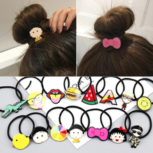 2017 New Novelty Hot Sale Girl's Cartoon character animal Character Hair Accessories Fashion Kids Candy Rubber Bands Headwear(China)