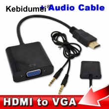 HDMI to VGA + Audio Cable Male To Female Built-in Chipset 1080p Video Converter For Xbox 360 PS3 Android TV Box Media Player(China)