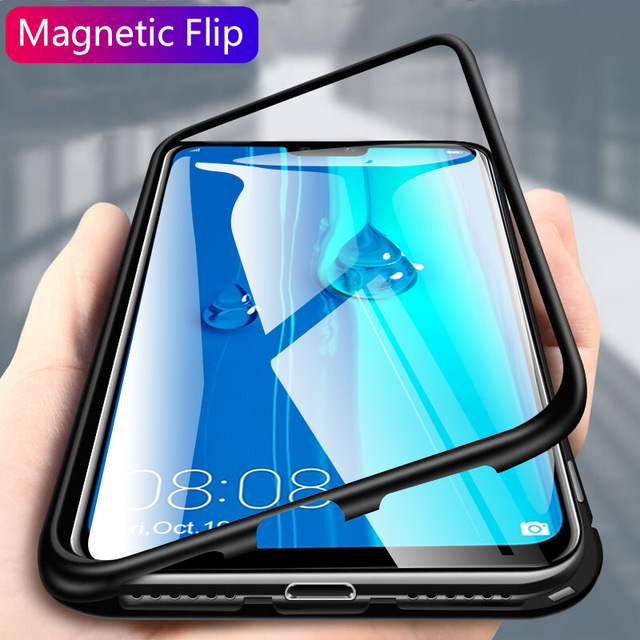 Magnetic Adsorption Metal Phone Case For Huawei Honor 20 Mate 10 Lite P10 P20 P30 Pro 8X Max Case Tempered Glass Clear Cover