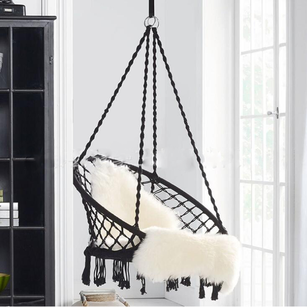 Round Hammock Swinging Bedroom Single-Safety-Chair Nordic-Style Outdoor Adult Dormitory title=