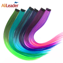 AliLeader Product 1 Piece 1 Clip In Synthetic Hair Extensions Ombre 20 Colors 50CM Long Straight Clip On Hair Pieces Women Girls