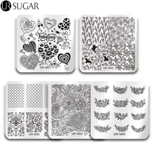 Buy UR SUGAR Nail Stamping Template Set Flower Lace Plaid Square Stamp Plate Valentine's Manicure Nail Art DIY Image Plate Polish for $6.26 in AliExpress store