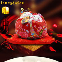 Ceramic new wedding couple lucky cat coin fortune piggy bank home office shop open decoration money saving box