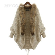 Women Winter Cardigan Coat Thick Poncho Capes Pull Femme Knitted Fur Collar Wool Sweater Jacket  Autumn Wram  Bat Sleeve Coat
