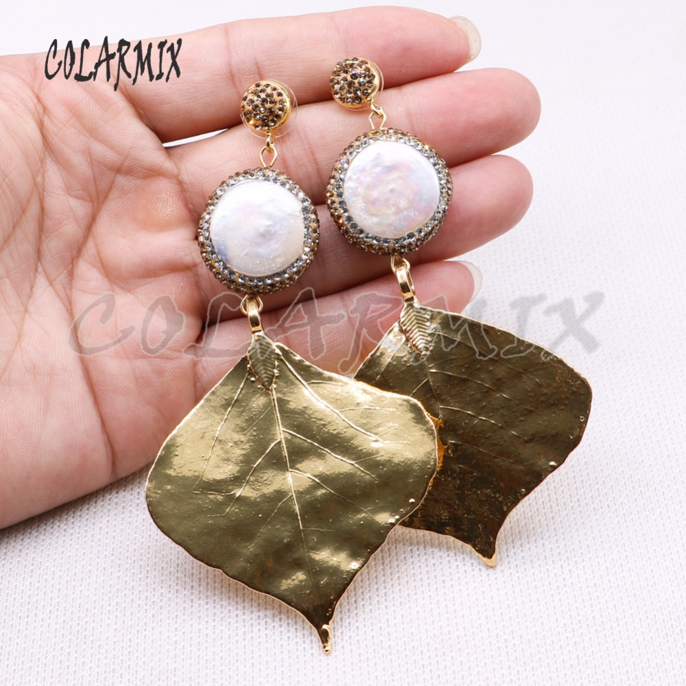 3 pairs pearl earrings leaves earrings big pearl jewelry long dangle wholesale jewelry for women 4146