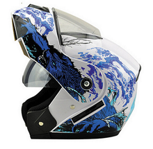 2017 hot brand Sea Butterfly Pattern Flip Up Cool Motorcycle Helmet Safe Double Lens with with inner sun visor  affordable