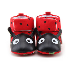 Delebao Big Red Beetle Baby Boots Winter Warm Newborn Toddler Boots 2017 New Design Pure Handmade Baby Shoes