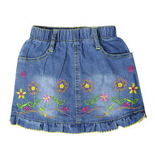 Girl's embroidery flower pattern mini Jeans skirts with two front pockets elastic waistband for toddler kids girl XML-67295