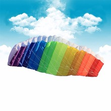 Hot Power Dual Line Stunt Parafoil Parachute Rainbow Sports Beach Kite with 2pcs 30m Nylon Flying Lines For Beginner 1PC