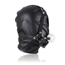 Buy 2017 Newest Fetish PU Leather Mask Harness Sex Slave Gag BDSM Bondage Ball Hood Blindfold Restraints Erotic Sex Toys Couples