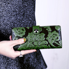 Famous Brand Women Wallet Chinese Style Leather Fashion Multifunction Coin Clutch Woman Bag Ladies Wallet Card Holder Long Purse