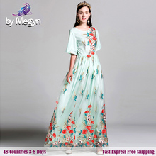 2017 Newest Runway Designer Luxury Dress Women' Brand High Quality Floral Embroidery Mesh Sturning Maxi Dress Free Fast Express(China)
