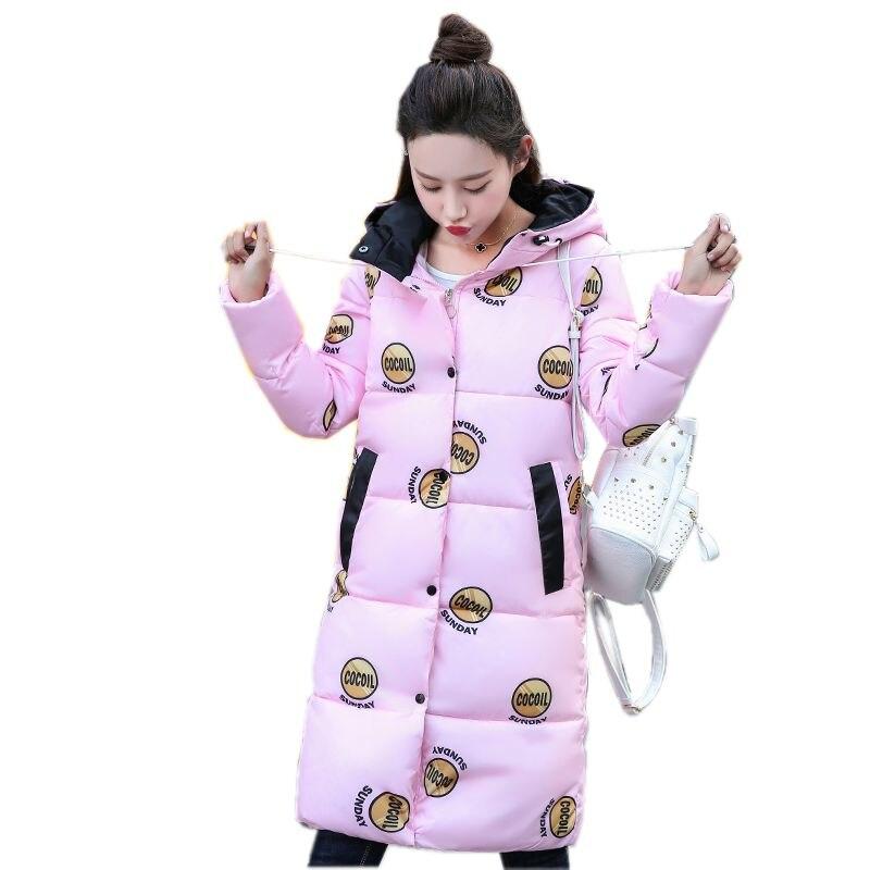 Winter Women Jacket 2017 New Fashion Hooded Warm Medium long Down Cotton Jacket Long Sleeve Slim Big yards Female Coat LADIES283Îäåæäà è àêñåññóàðû<br><br>