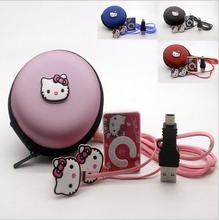 New Mini Hello Kitty MP3 Music Player Clip MP3 Players Support TF Card With Hello Kitty Earphone&Mini USB&hello kitty bag