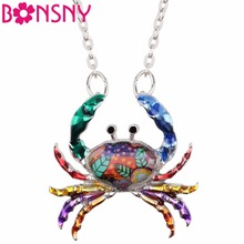 Bonsny Statement Ocean Collection Alloy Enamel Chain Crab Necklace Pendants Collar Animal Jewelry For Women Girl Accessories(China)