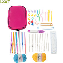Looen Brand Knitting Tools Set Crochet Hook Set Women Knitting Needles Weave Accessories Cotton Yarns Crochet Kit Set With Case(China)