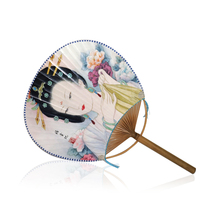 Chinese Traditional Handwork Crafts Round Silk Fans with Chinese Beauty Yang Yuhuan Pattern Classical Round Paper Fans