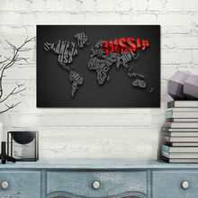 30x20 Letters monogram design black red World Map home decoration print Painting on Canvas For Living Room decor Canvs painting