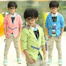 Spring/Autumn Thin Fashion Boys Blazers Kids Jackets Suits Outerwear Baby Clothes New 2016 T2/0207DAO
