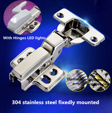 Hydraulic buffer 304 Stainless steel fixedly mounted furniture hinge three types kitchen cabinet hinges with LED light
