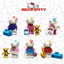 6pcs Hello Kitty Building Blocks Set Bricks Toys Cute Kitty Mini Action Figures Collection Best Gift for Girls