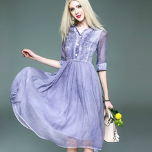 Lavender Shirt Dress Half Sleeve Elegant Vestido Mujer Silk Linen Patchwork Ladies Dress Chiffon Robe Longue Women Clothing 2017