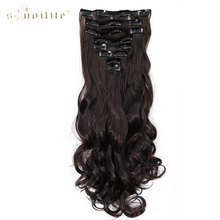 "SNOILITE 17"" Lady Long Curly 18 Clip in Hair Extension 100% Real Synthetic Hair Hairpieces 8pcs/lot Dark Brown"