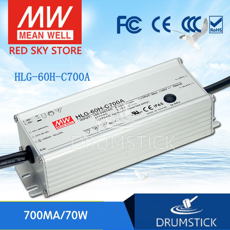 100% Original MEAN WELL HLG-60H-C700A 50 ~ 100V 700mA meanwell HLG-60H-C 70W Single Output LED Driver Power Supply A Type<br>