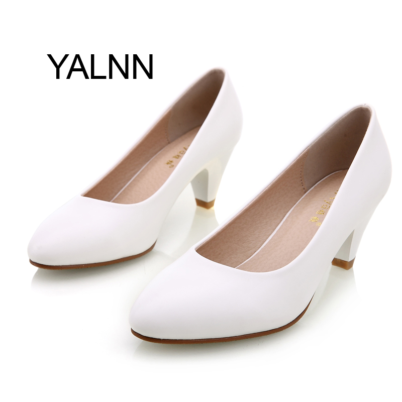 Elegant Women Pump Birthday gift genuine leather High Quality Shoes Classic med Office Ladies Shoes High heels Shoes<br><br>Aliexpress
