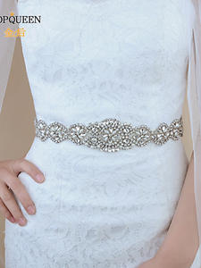 TOPQUEEN Bridal-Belts Wedding-Accessories Crystals Women with for of The S161