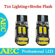 10x  T10 Strobe flashing 194 W5W 10 SMD 7020 LED 7014 Lighting + strobe flash Two modes of Operation Car light bulbs White DC12V