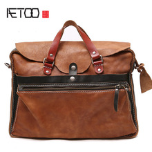 AETOO Original hit color men's handbag briefcase star magazine models leather tatto men and women Baotou layer soft skin(China)