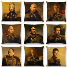 Hollywood Super Film Stars Uniform Gentleman Retro Military Dress Replaceface Prints Cushion Cover Decor Sofa Throw Pillow Case