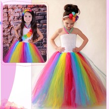 Candy Rainbow Girls Carnival Costume Tulle Tutu Dress Children Wedding Dresses Girl Photo Props Summer Clothing for Girl(China)