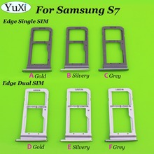 YuXi Sim Card Tray For Samsung For Galaxy S7 edge G935 G935F G935A Single / Dual Signal / Dual Sim Card Reader Holder Slot Tray(China)
